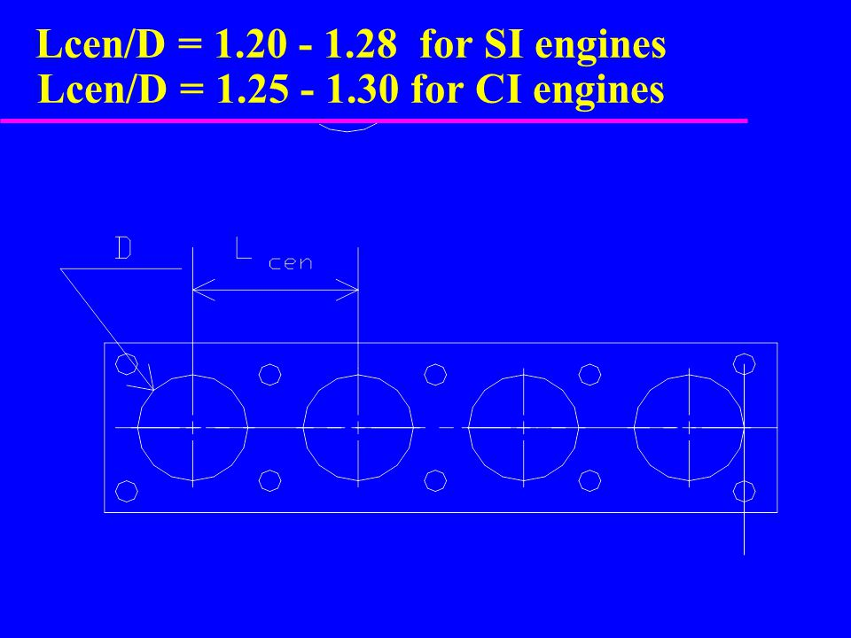 Lcen/D = 1. 20 - 1. 28 for SI engines Lcen/D = 1. 25 - 1