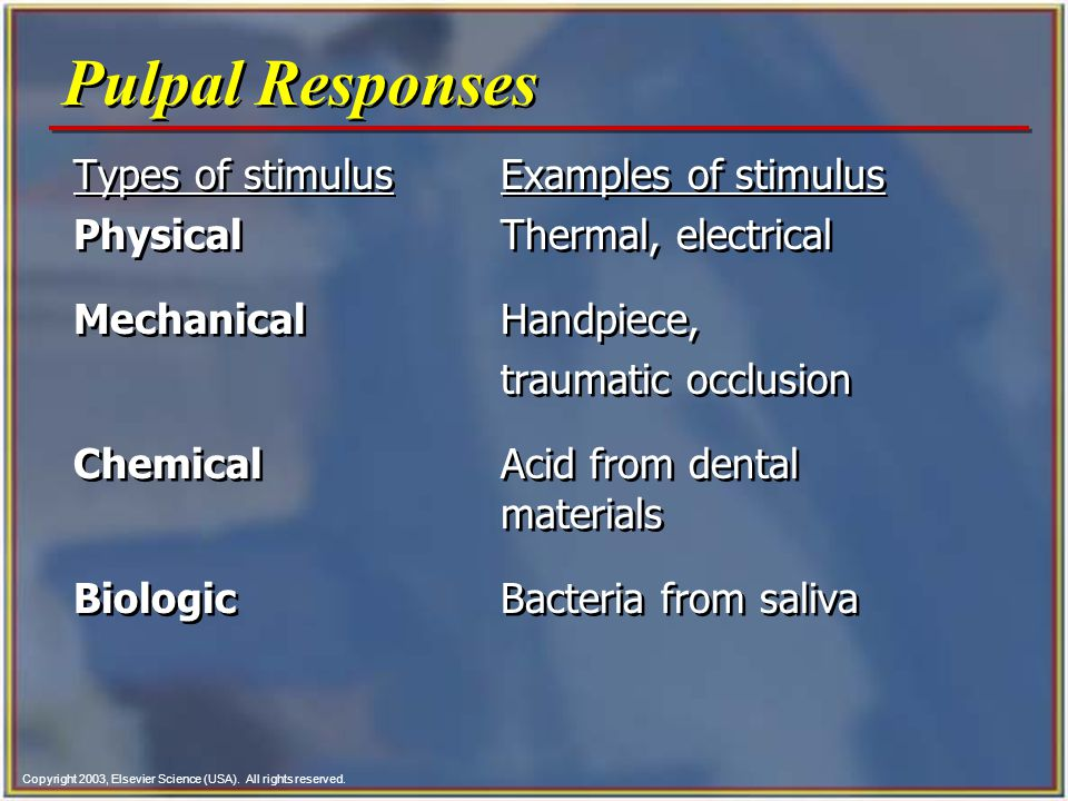 Pulpal Responses Types of stimulus Examples of stimulus