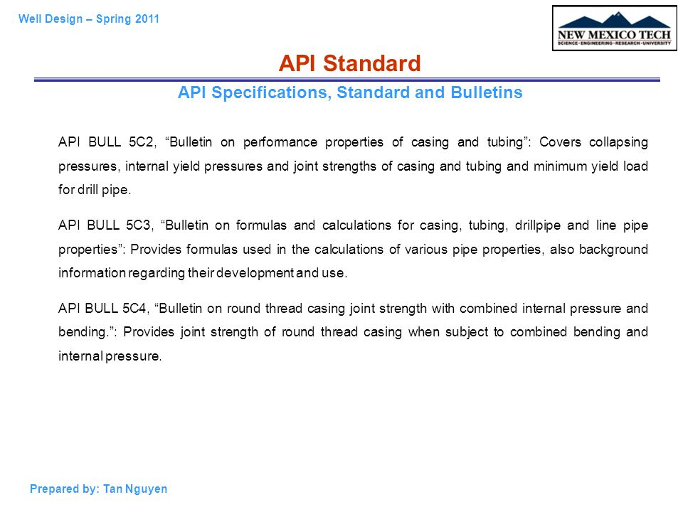API Specifications, Standard and Bulletins