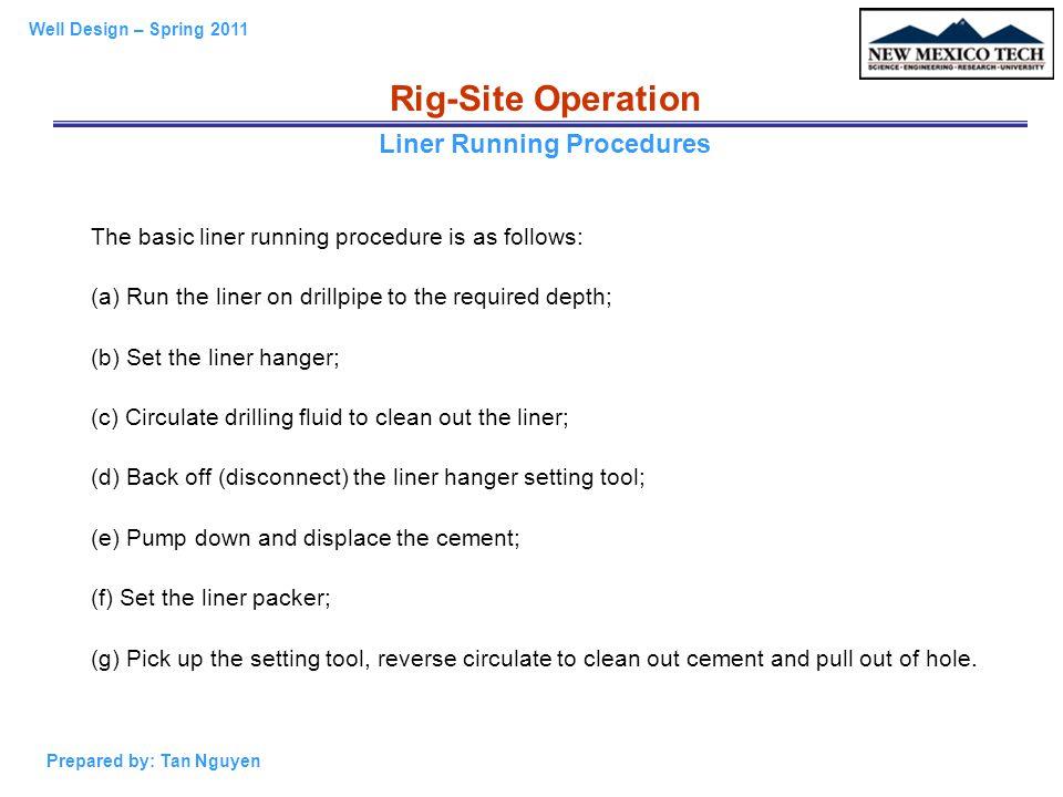 Liner Running Procedures