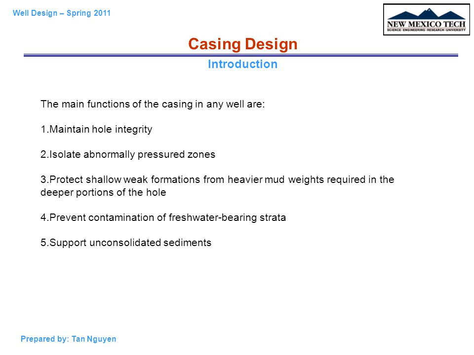 Casing Design Introduction