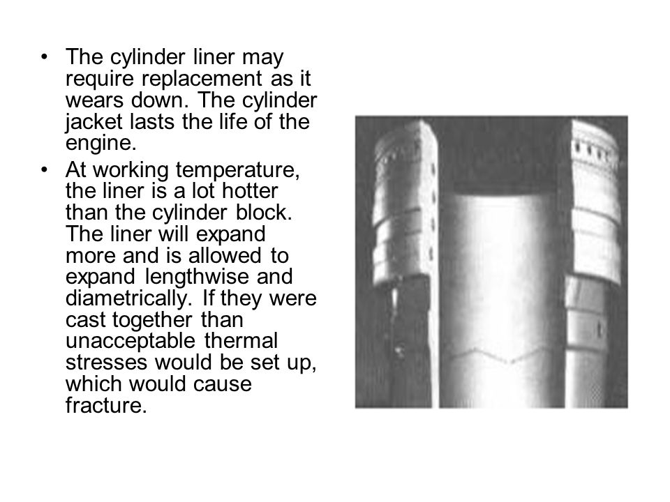 The cylinder liner may require replacement as it wears down