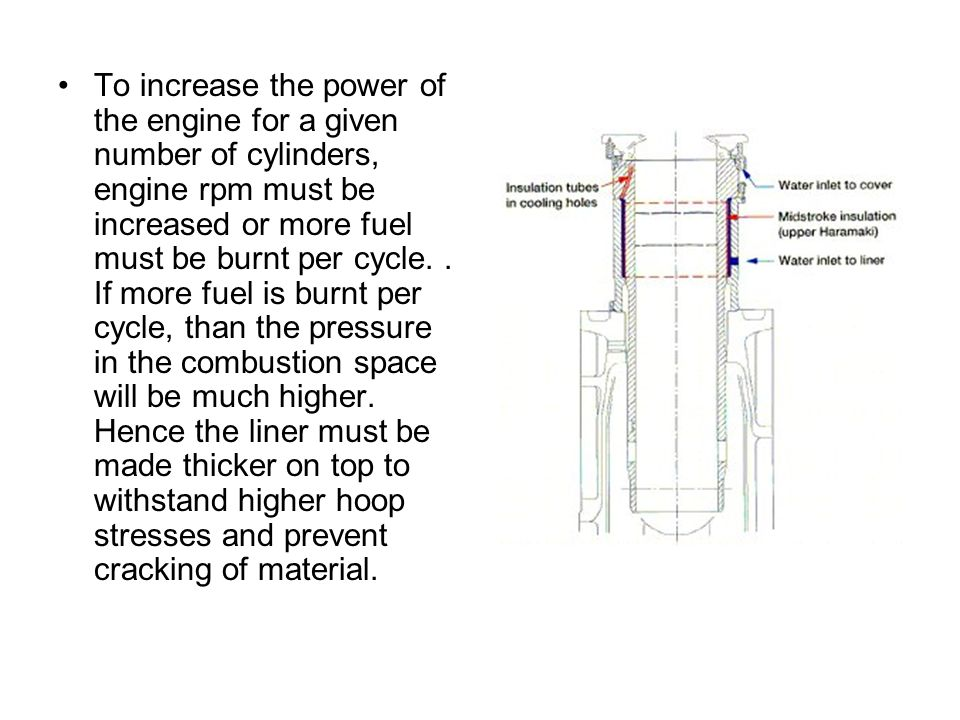 To increase the power of the engine for a given number of cylinders, engine rpm must be increased or more fuel must be burnt per cycle.