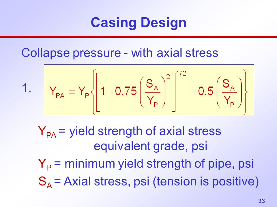 Collapse pressure - with axial stress 1.