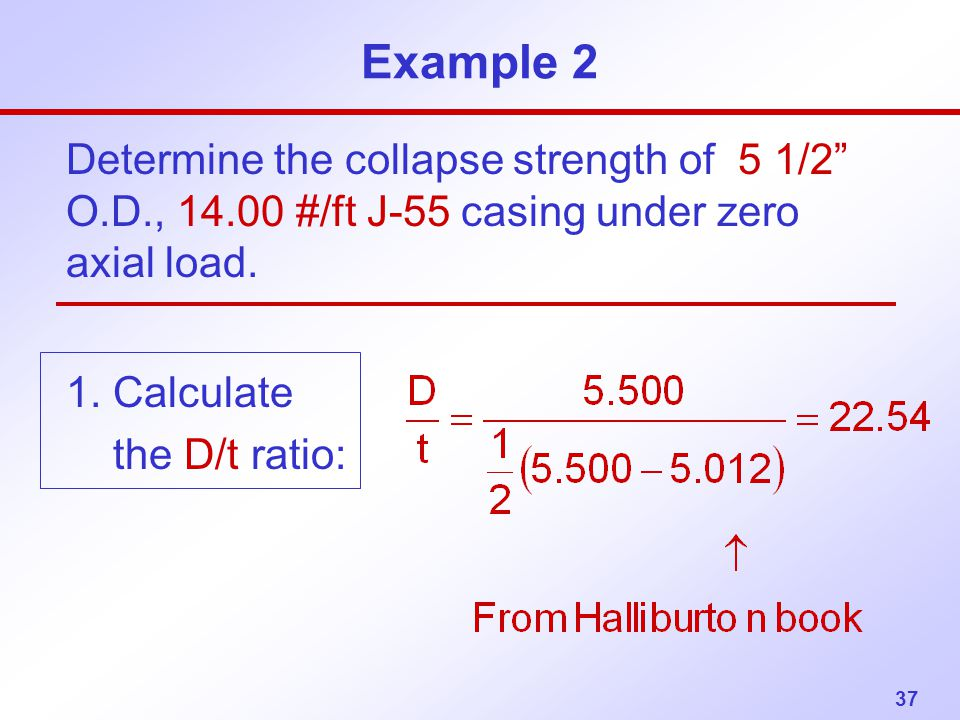Example 2 Determine the collapse strength of 5 1/2 O.D., #/ft J-55 casing under zero axial load.