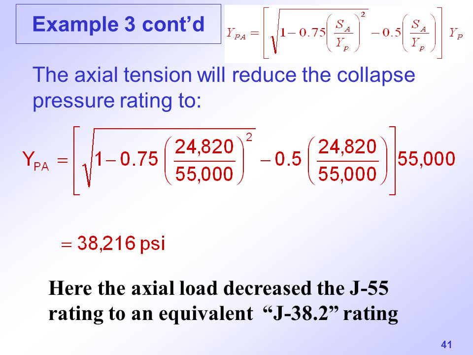 The axial tension will reduce the collapse pressure rating to:
