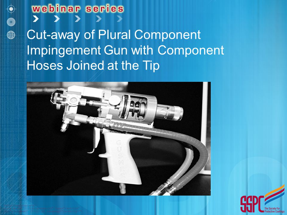 Cut-away of Plural Component Impingement Gun with Component Hoses Joined at the Tip