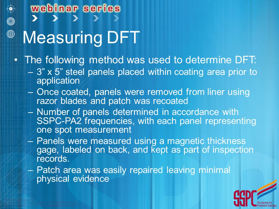 Measuring DFT The following method was used to determine DFT: