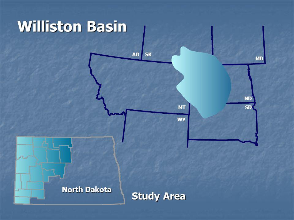Williston Basin AB SK MB ND MT SD WY North Dakota Study Area