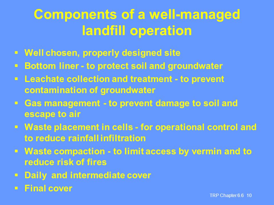 Components of a well-managed landfill operation