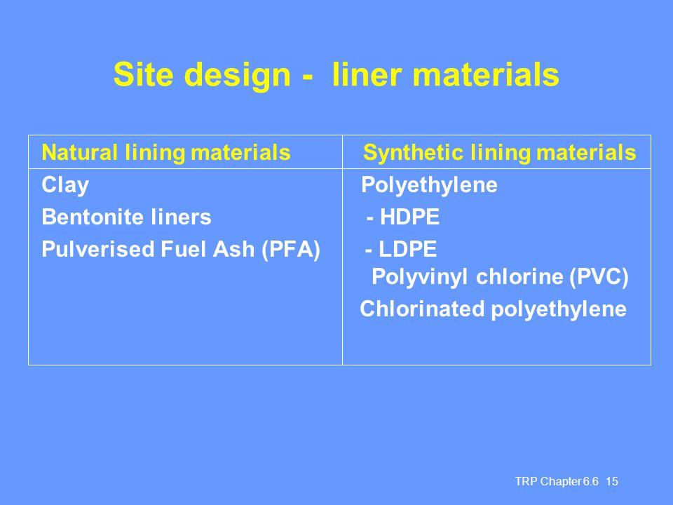 Site design - liner materials