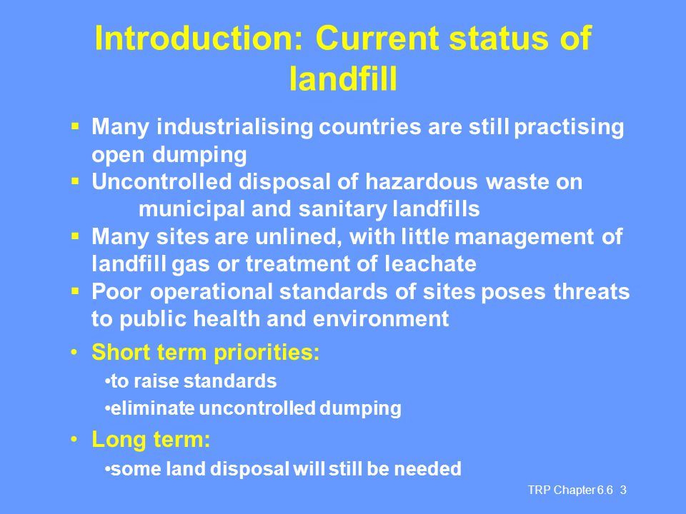 Introduction: Current status of landfill