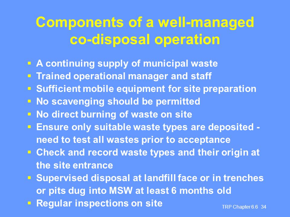 Components of a well-managed co-disposal operation