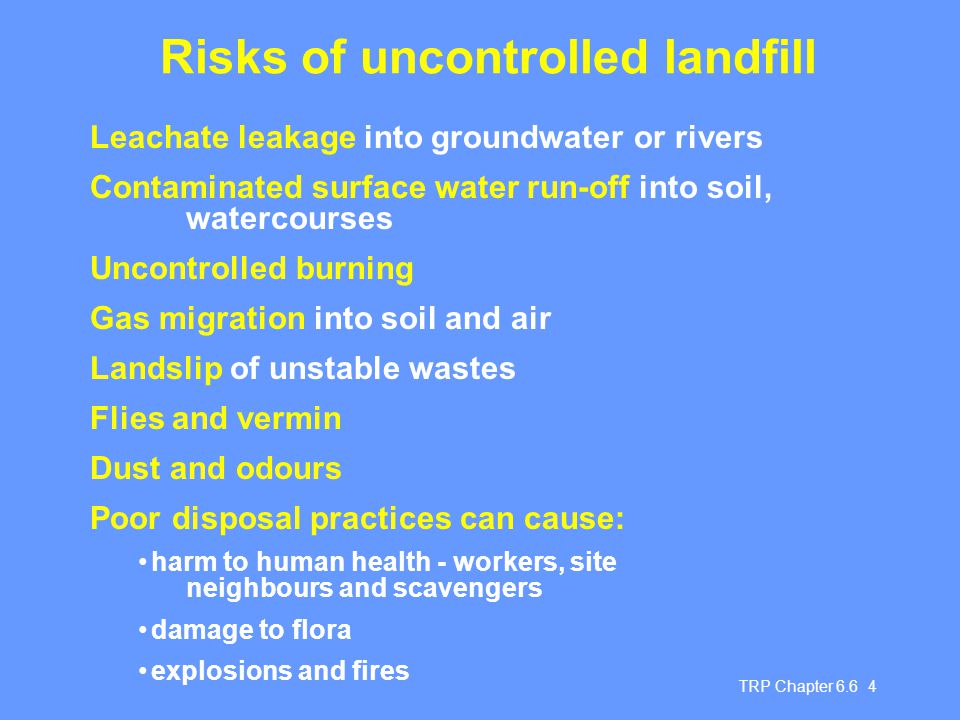 Risks of uncontrolled landfill