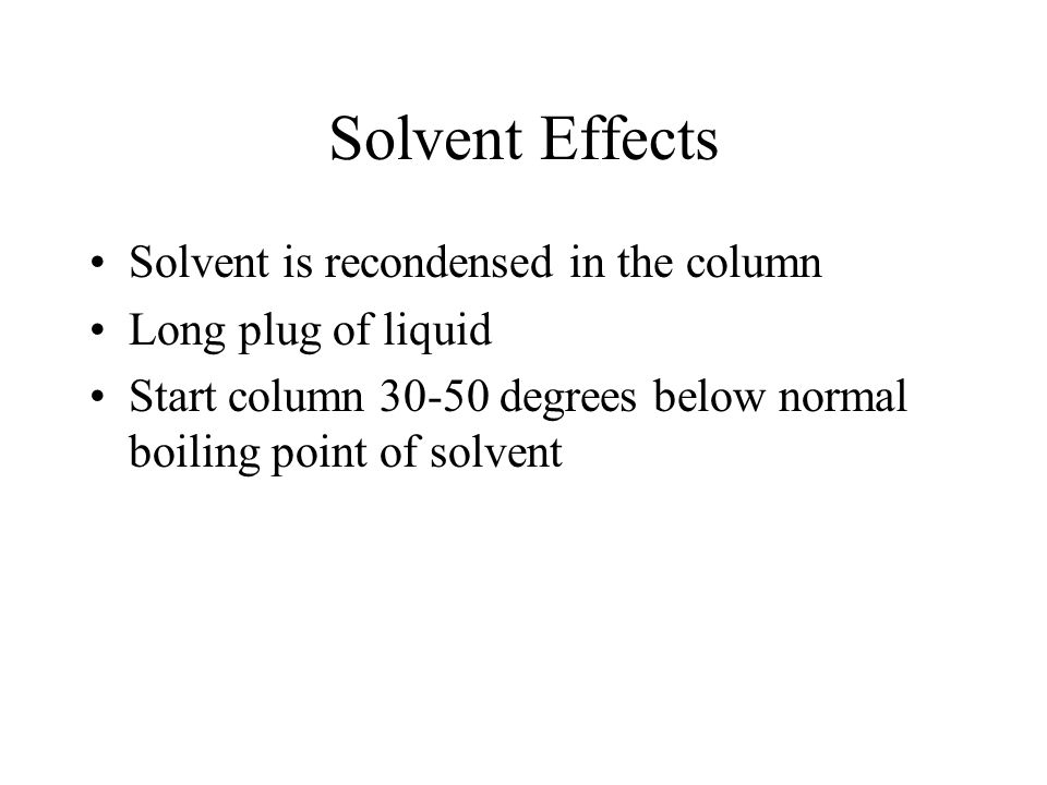 Solvent Effects Solvent is recondensed in the column