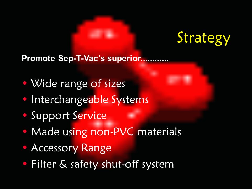 Strategy Wide range of sizes Interchangeable Systems Support Service