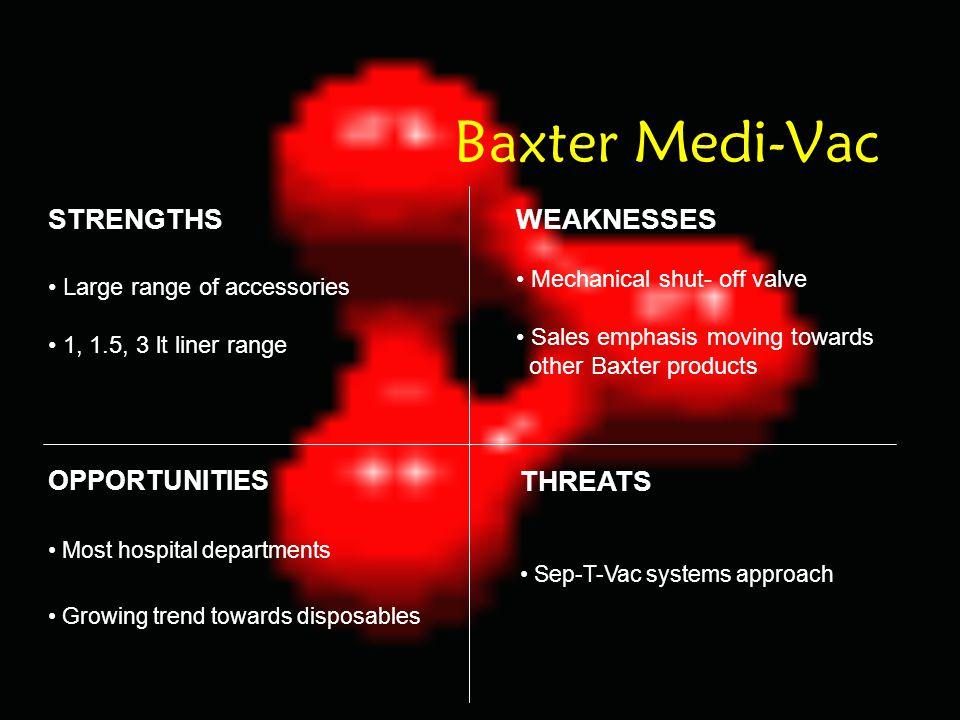 Baxter Medi-Vac STRENGTHS WEAKNESSES THREATS OPPORTUNITIES