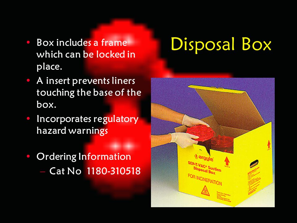 Disposal Box Box includes a frame which can be locked in place.