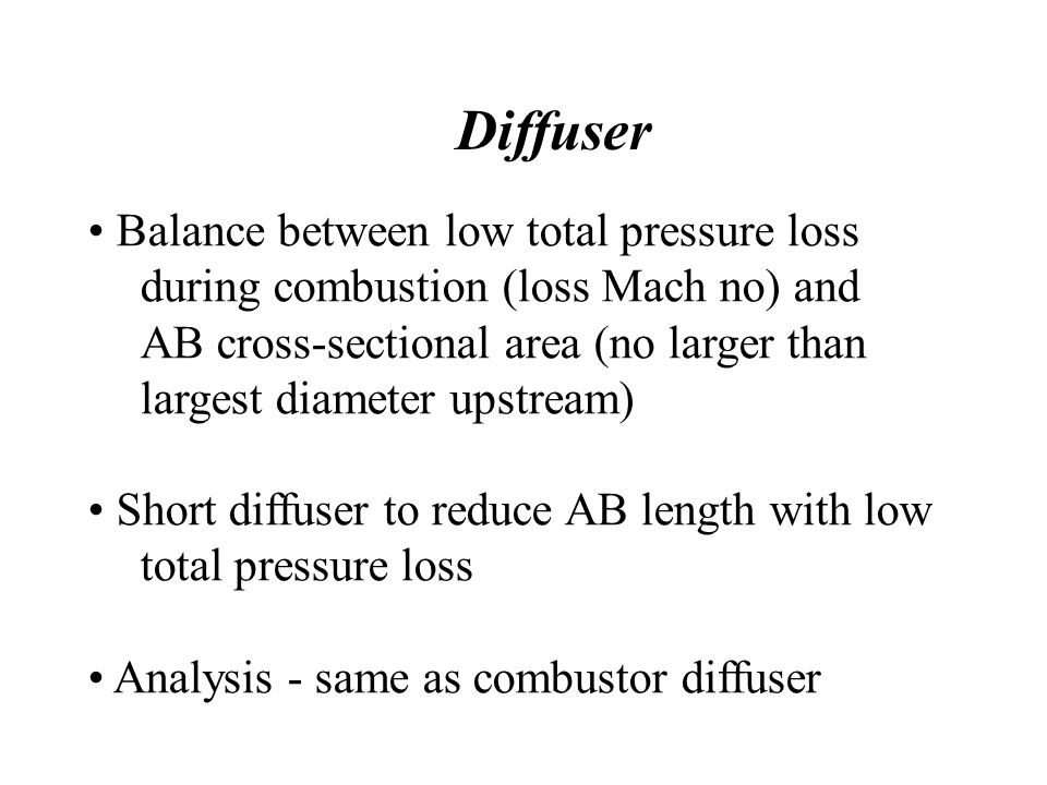 Diffuser Balance between low total pressure loss