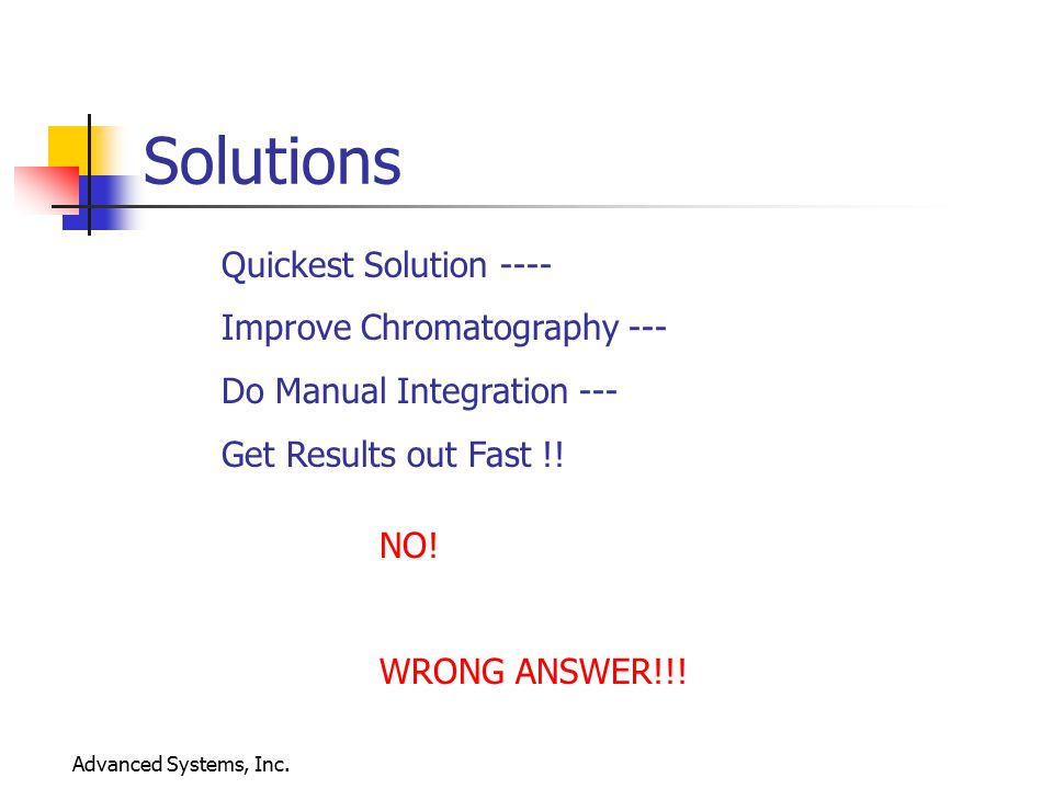 Solutions Quickest Solution ---- Improve Chromatography ---