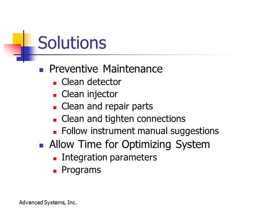 Solutions Preventive Maintenance Allow Time for Optimizing System