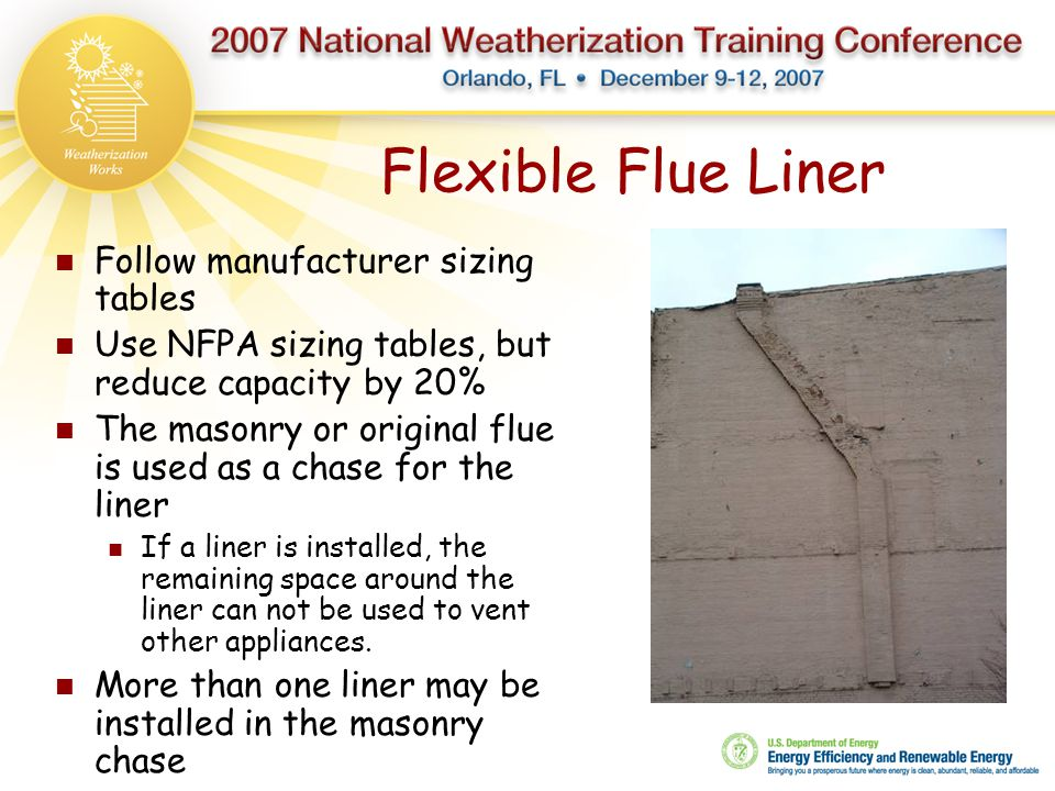 Flexible Flue Liner Follow manufacturer sizing tables