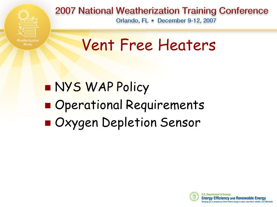 Vent Free Heaters NYS WAP Policy Operational Requirements