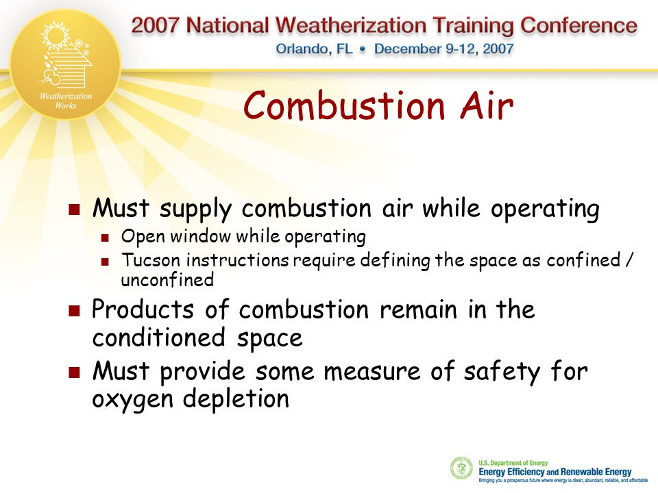 Combustion Air Must supply combustion air while operating
