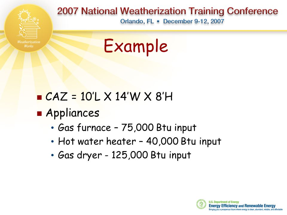 Example CAZ = 10'L X 14'W X 8'H Appliances