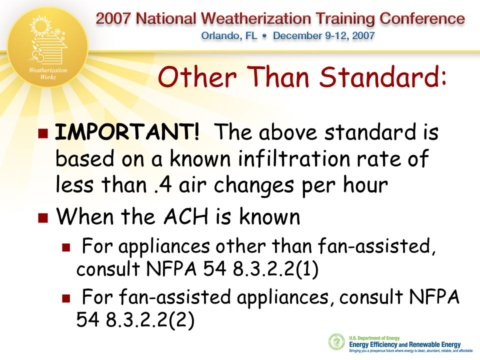 Other Than Standard: IMPORTANT! The above standard is based on a known infiltration rate of less than .4 air changes per hour.