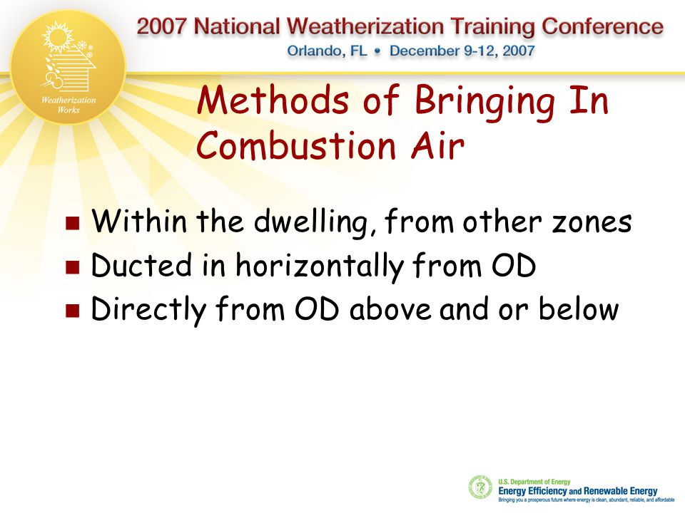 Methods of Bringing In Combustion Air
