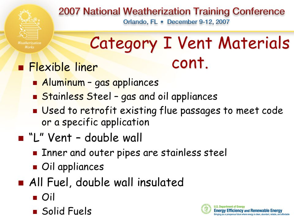 Category I Vent Materials cont.