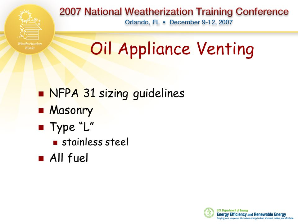 Oil Appliance Venting NFPA 31 sizing guidelines Masonry Type L