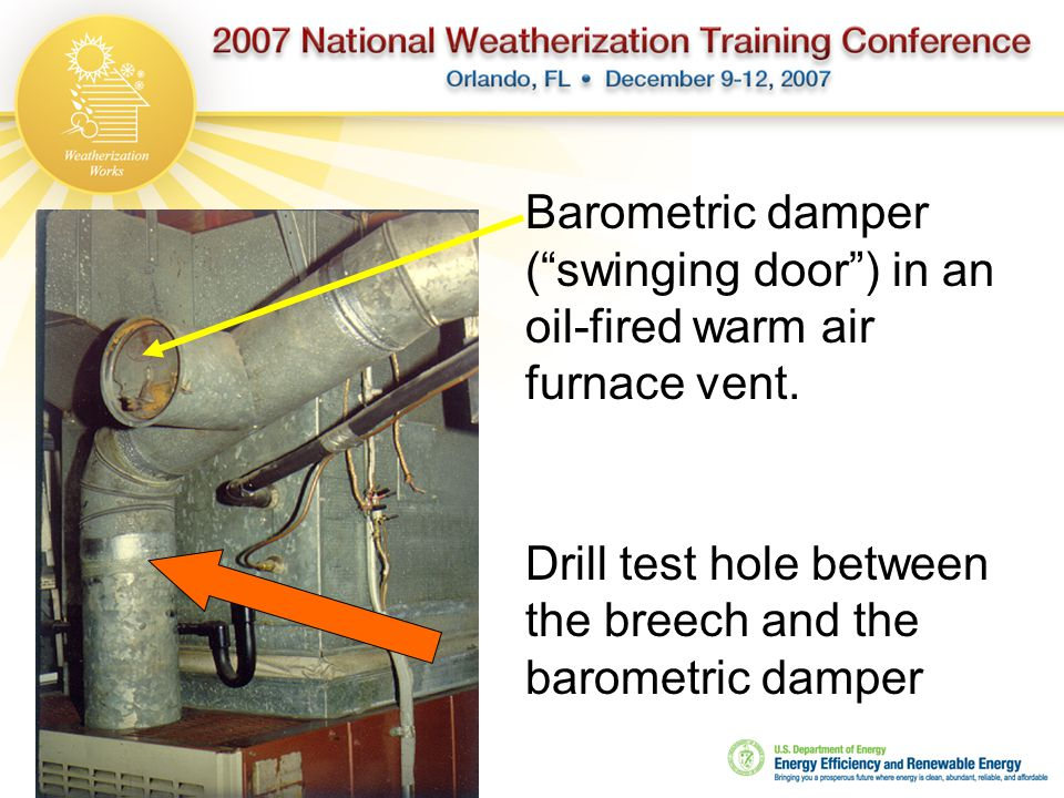 Drill test hole between the breech and the barometric damper