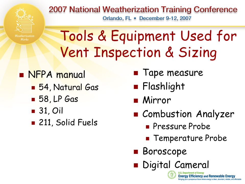 Tools & Equipment Used for Vent Inspection & Sizing