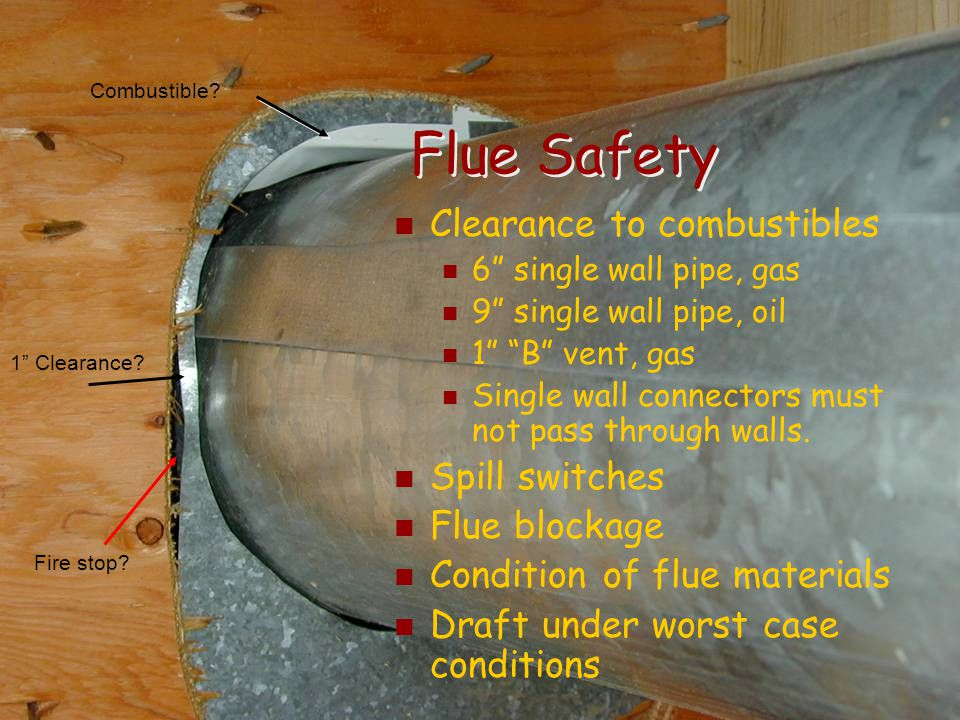 Flue Safety Clearance to combustibles Spill switches Flue blockage