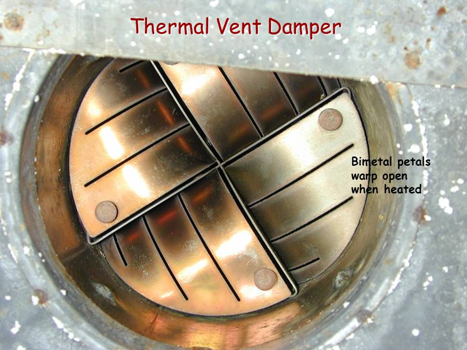 Thermal Vent Damper Bimetal petals warp open when heated