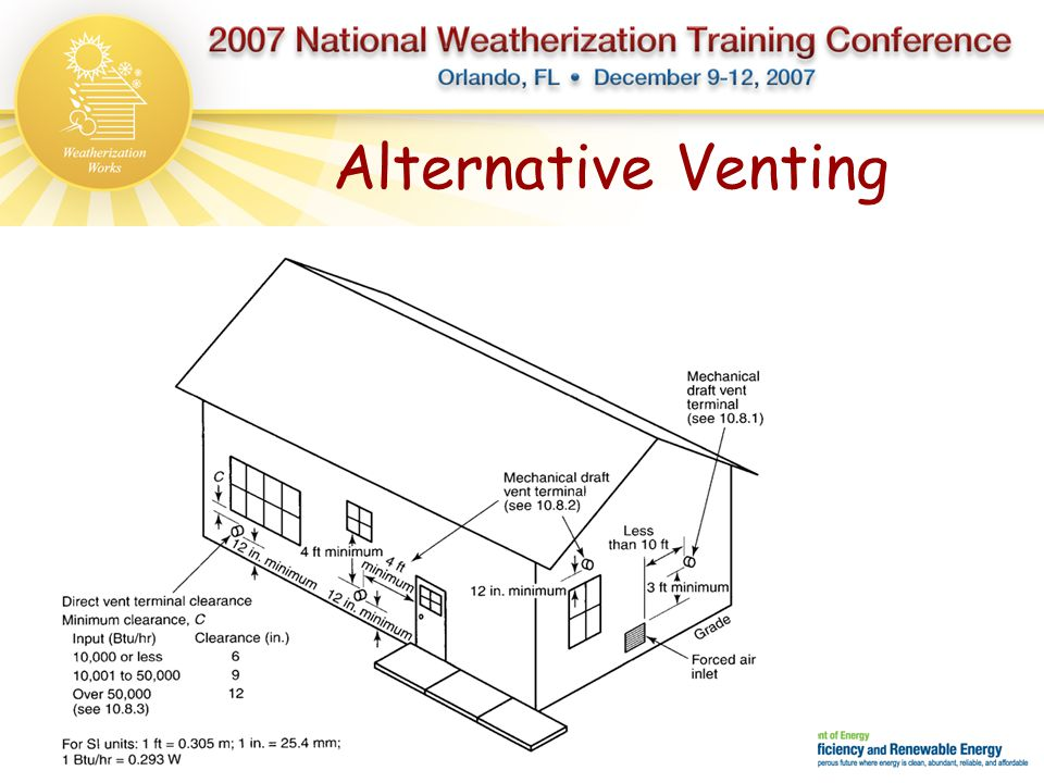 Alternative Venting Many times you will not find a location to sidewall vent a powered draft system because of clearances that must be attained.