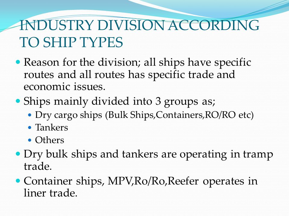 INDUSTRY DIVISION ACCORDING TO SHIP TYPES