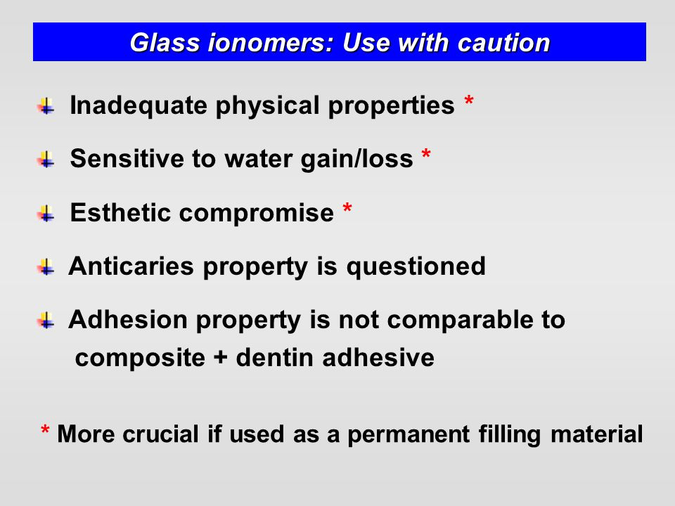 Glass ionomers: Use with caution