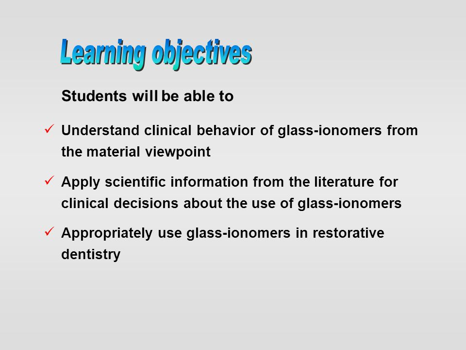 Learning objectives Students will be able to