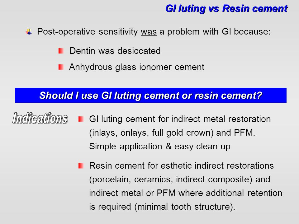 Should I use GI luting cement or resin cement