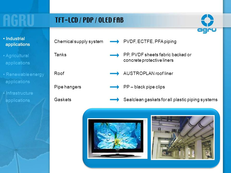 TFT-LCD / PDP / OLED FAB Industrial applications
