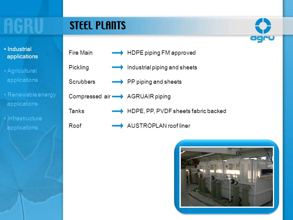 STEEL PLANTS Industrial applications Fire Main HDPE piping FM approved