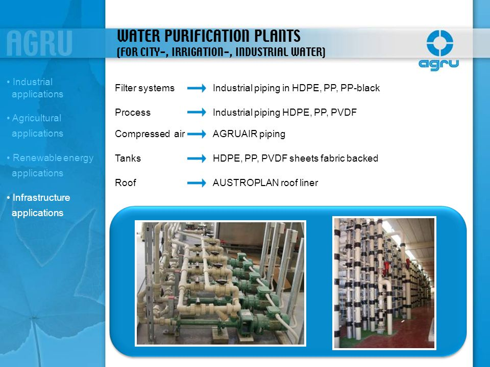 WATER PURIFICATION PLANTS (FOR CITY-, IRRIGATION-, INDUSTRIAL WATER)