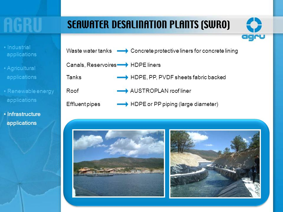 SEAWATER DESALINATION PLANTS (SWRO)