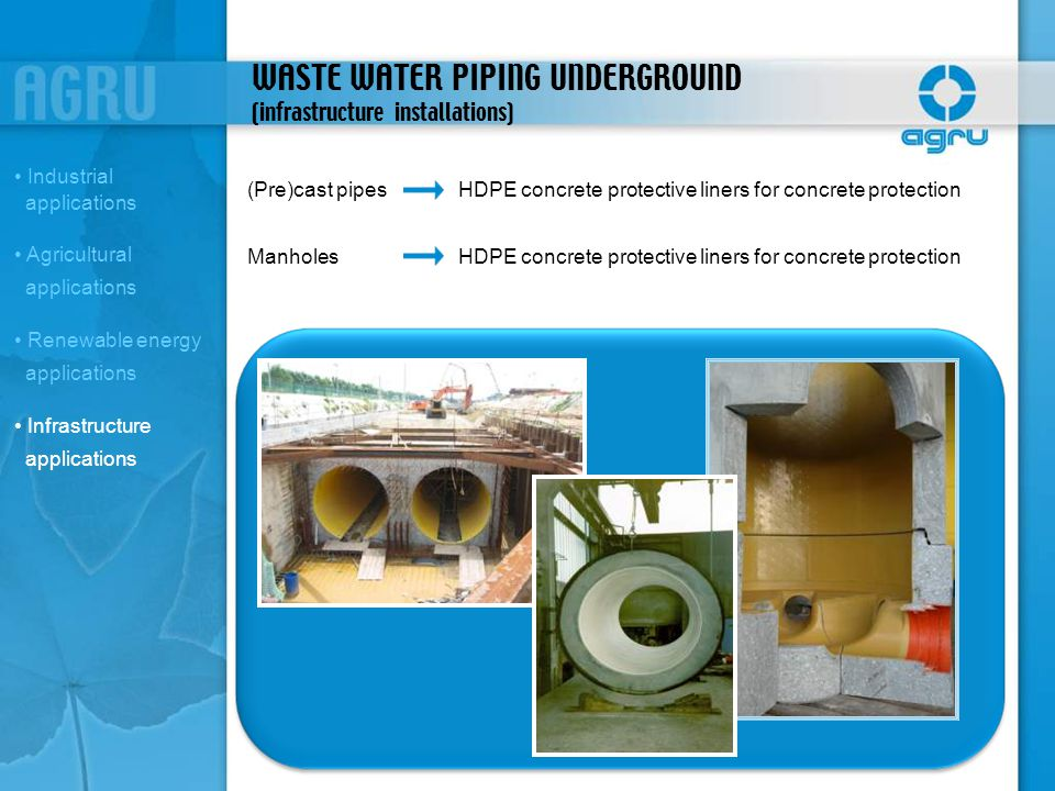 WASTE WATER PIPING UNDERGROUND (infrastructure installations)