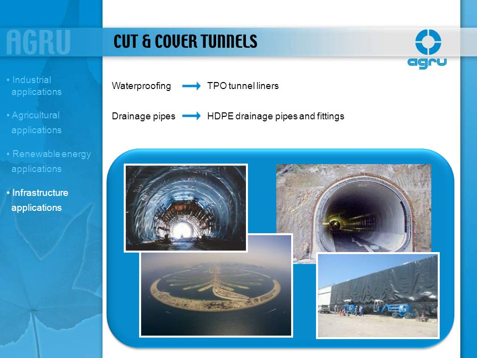 CUT & COVER TUNNELS Industrial applications