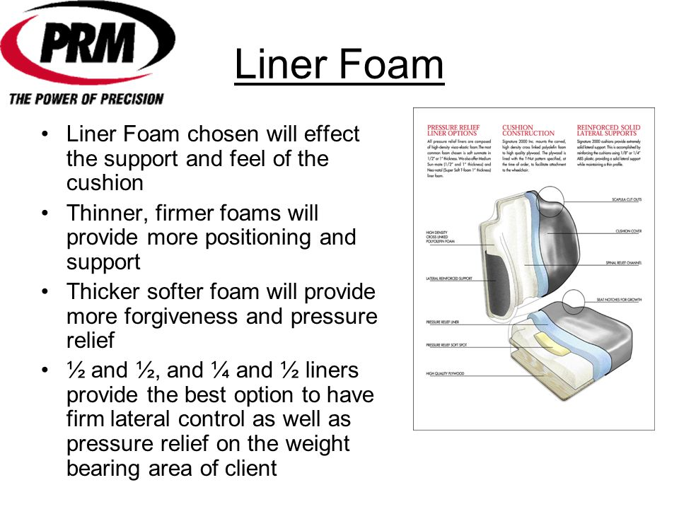 Liner Foam Liner Foam chosen will effect the support and feel of the cushion. Thinner, firmer foams will provide more positioning and support.