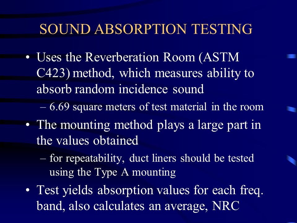 SOUND ABSORPTION TESTING